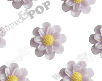 25mm Whisper Purple Daisy Sunflower Cabochons, Textured Daisy Shaped Resin Flat Cabochons,  (R6-024)