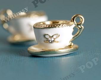 1 - 3D White Enamel Gold Tone Teacup Crystal Rhinestone Detailed Kawaii Charm, Tea Charm, Teacup Charm (1-2J)