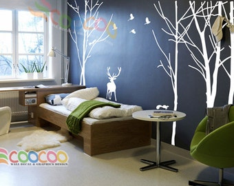 """Wall Decal, wall Stickers, Tree, Removable, Tree and Birds, forest with deer 2 colors 96""""H"""