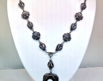 Victorian Pewter Rose Mourning Cameo On Faceted Polished French Jet & Milk Glass Cameo Embossed Rolo Chain Necklace