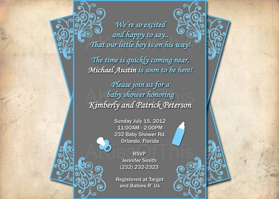 to damask baby shower invitation blue and grey baby boy invite
