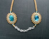 Gold Abalone Necklace with Quartz - Bead Embroidered Peacock Medallion Necklace - OOAK