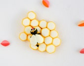 Honeycomb brooch with bee, spring jewelry hand sculpted in polymer clay