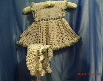 Pinafore:  Dress and Hat, Crocheted Lace in Ecru and Sage green