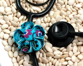 Stethoscope ID Tag Flower- Turquoise Purple Floral Blossom (Round)
