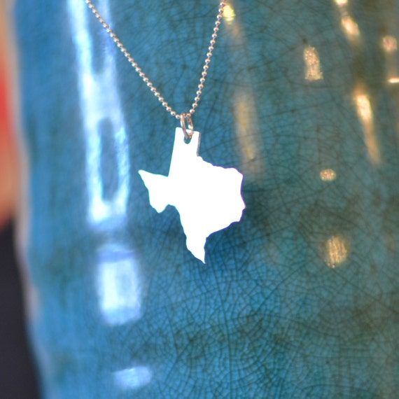 State Pendant Necklace - Sterling Silver Texas - IN STOCK