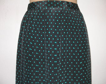 Black  Pleated  Skirt Vintage / with Mint Polka Dots /  Size EUR40 / UK12
