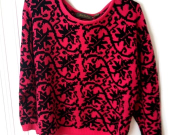 80s Pink and Black Sweater
