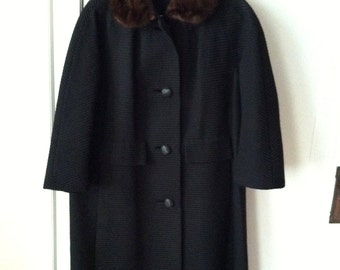 SALE~~ 60s Textured Wool Swing Coat with Mink Collar