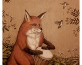 "Red Fox on Djembe print 8"" x 10"""