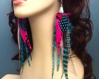 Long Feather Earrings - Hubba Bubba - Pink And Turquoise Grizzly Feather Earings Dangle Blue Earrings