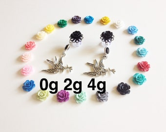 4g Rose Dangle Plugs 2g, 0g Ear Plugs Sparrow Plugs 00g Dangle Gauges Choose From 24 Flower Colors