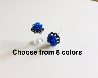 Tiny Rose Plugs 8g (3mm) 12g (2mm) Body Jewelry Piercing 10g 2.5mm Flower Gauges Gunmetal Base Choose From 8 Rose Colors