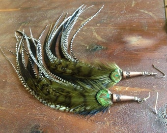 Grizzly Feather Earrings Long Green Grizzly Hippie Bohemian Feather Earings, Feather Jewelry