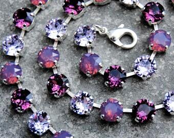 Purple Rhinestone Statement Necklace Swarovski Crystal Violet Pink Raspberry Opal Amethyst Tennis Necklace
