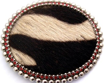 Cow Hair on Hide, Red Swarovski Crystal, Buckle and Belt