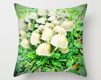 Decorative Photo Throw Pillow Cover Brown Green Mushroom Abstract Home Decor 18x18 Gift for Him