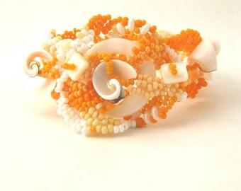 Beaded bracelet, Seed bead bracelet, Orange bracelet, Handmade cuff, Art beadwork, Freeform peyote, Birthday gift for women