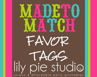 Custom Favor Tags Made to Match any invitation design from LilyPieStudio