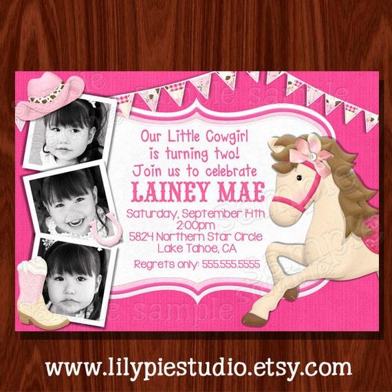 NEW Cowgirl Themed Birthday Invitation printable digital file