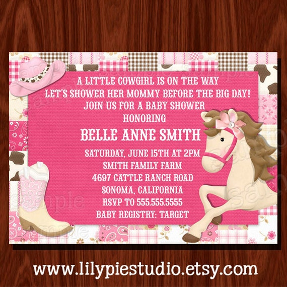 new cowgirl themed baby shower/ birthday invitation by lily pie, Baby shower invitations