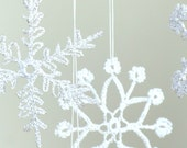 6 Lace Crochet snowflakes, christmas decoration ornament, different design silver sparkling