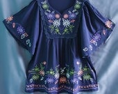 Women Shirt Ladies Top Blouse Maternity T-shirt Tunic Dress Blue Caftan Kaftan Embroidered Summer