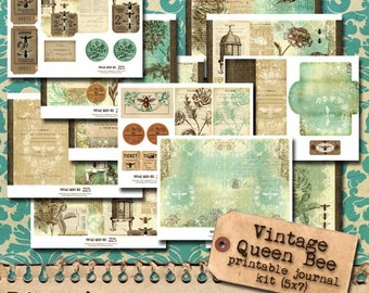 Vintage Queen Bee 5x7 Printable Journal Kit
