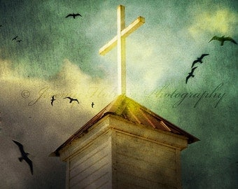 Vintage Church Steeple with cross fine art print