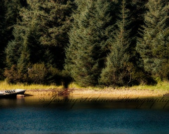 Fine Art Print of a Peaceful Lake side with row boat in Alaska