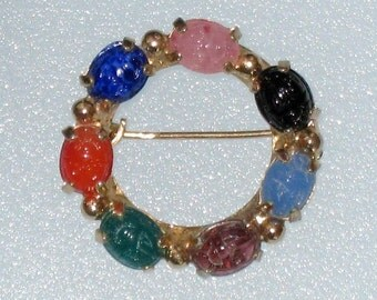 """Multi-Colored Scarab Circle Pin / Brooch / Unsigned / 1 3/16"""" Across / Vintage / FREE US Shipping"""