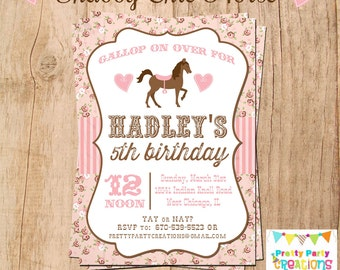 SHABBY CHIC HORSE invitation - You Print - Original Treasury Featured