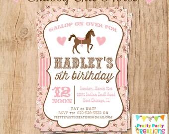 SHABBY CHIC HORSE invitation - You Print - Original Treasury Featured