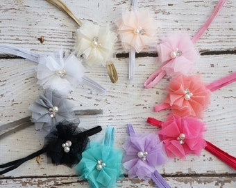 Baby - Baby headbands - Newborn Headbands - 10 colors - Skinny Elastic Headband - Flower Headband -