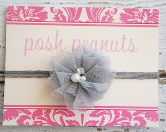 Baby - Baby headbands - Gray Baby Headband - Newborn Headbands - 10 colors - Skinny Elastic Headband - Flower Headband - Shabby Flowers