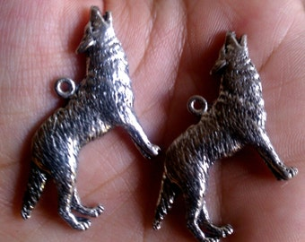 Handcrafted Silver Pewter Werewolves Charms 2pcs