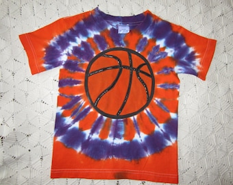 Tie dye shirt, youth small, Phoenix Suns and Clemson Tigers BASKETBALL in orange and purple- 250
