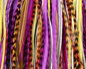 Feather Hair Extension- LONG 5 feather 5 dollars. orange purple yellow