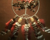 Dream Catcher- Tree of Fire- Silver Beaded Dream Catcher- Made To Order