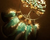 Dream Catcher- Tree of Life- Silver Beaded Dream Catcher with Beautiful Feather work -Made to Order