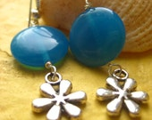 SALE- Blue Glass Flower Dangles- Silver tone flower, plumeria, Hawaiian inspired earrings, sky blue, Summer earrings, Floral Charms