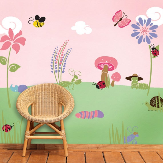 Flower and bug wall stencils for girls room baby by for Disney wall stencils for painting kids rooms