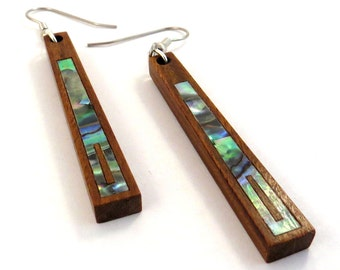 Abalone Inlay on Lignum Vitae Wooden Hook Earrings