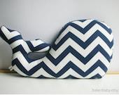 Whale Pillow, Modern Nautical Nursery Decor, navy chevron - bakerbaby