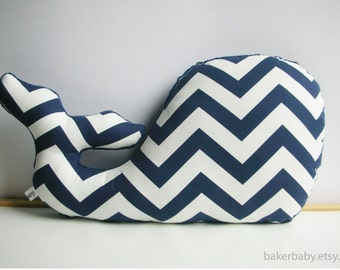 Whale Pillow, Modern Nautical Nursery Decor, navy chevron