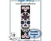 Bead Pattern Loom(Bracelet Cuff)-Sugar Skull 4