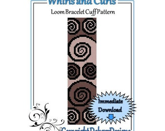 Bead Pattern Loom(Bracelet Cuff)-Whirls and Curls
