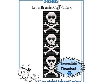 Bead Pattern Loom(Bracelet Cuff)-Skulls