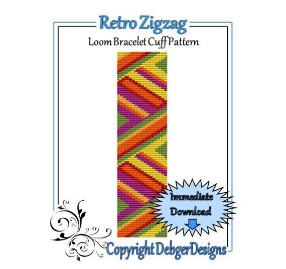 Bead Pattern Loom(Bracelet Cuff)-Retro Zig-Zag