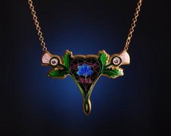 Heart & Flowers Pendant Necklace - cloisonne enamel pendant